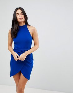 Read more about Ax paris halterneck wrap front bodycon dress - cobalt