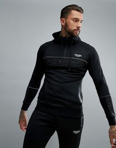 Read more about Muscle monkey muscle fit hoodie with reflective piping - black