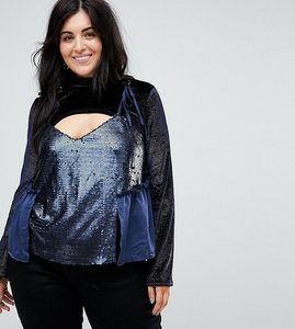 Read more about Lost ink plus velvet flared sleeve top with sequin cami overlay - midnight