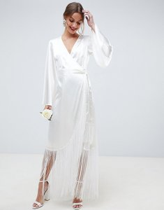 Read more about Asos edition satin fringe wrap wedding dress - cream