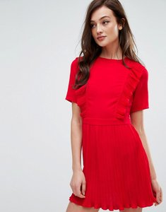 Read more about Fashion union dress with ruffles pleat detail - red