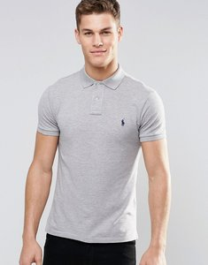 Read more about Polo ralph lauren plain logo slim fit polo in grey - grey