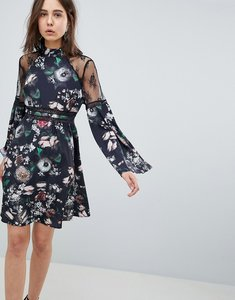 Read more about Neon rose lace trim floral skater dress - black