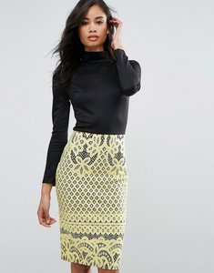 Read more about Club l high neck detailed dress with bonded lace skirt - black yellow