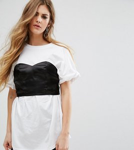 Read more about Reclaimed vintage oversized t-shirt with corset detail - white