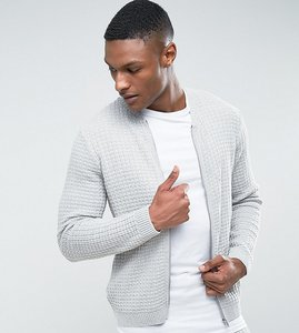 Read more about Asos tall textured bomber jacket in pale grey - grey