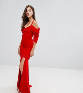Read more about Tfnc fishtail maxi dress with 80 s off shoulder - red
