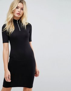 Read more about Asos mini bodycon dress with high neck and zip detail in rib - black