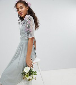 Read more about Maya tall embellished tulle sleeve midi tulle dress - green lily