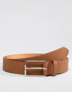 Read more about Asos smart faux leather slim belt in tan - tan