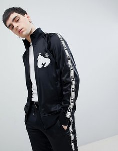 Read more about Money stripe tricot track top in black with back print - black