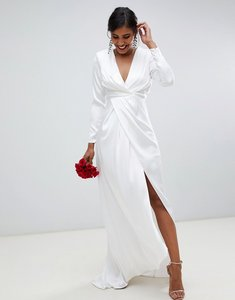 Read more about Asos edition pleated plunge wrap wedding dress in satin