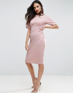 Read more about Asos midi t-shirt dress with corset detail - nude