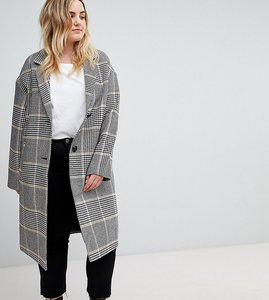 Read more about Asos design curve slim coat in coloured check - multi