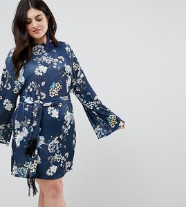 Read more about Asos curve kimono sleeve bird print mini dress with self fringe belt - multi