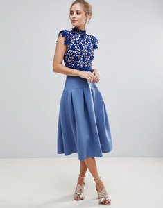 Read more about Asos heavy lace high neck prom dress - blue