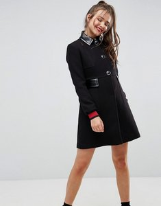 Read more about Asos skater coat with patent collar and tipped cuff - black