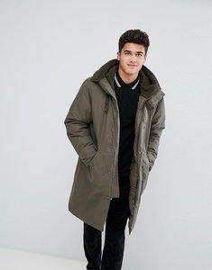Read more about Stradivarius padded parka with borg lined hood in khaki - khaki