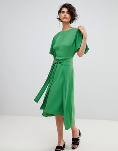 Read more about Warehouse kimono sleeve knot front midi dress - green