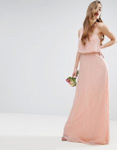 Read more about Asos wedding one shoulder embellished maxi dress - nude