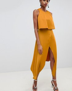 Read more about Asos design double layer thigh split maxi dress - gold