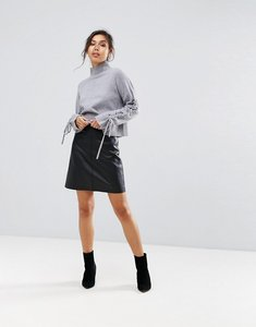 Read more about Warehouse leather look a-line mini skirt - black
