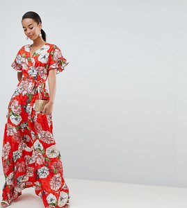 Read more about Asos design tall ruffle wrap maxi dress in floral jacquard - multi