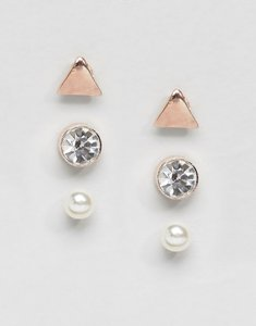 Read more about Johnny loves rosie triangle multipack earrings - rose gold