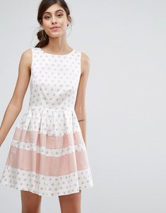 Read more about Closet london mini skater dress in polka print with contrast stripe - black cream pink