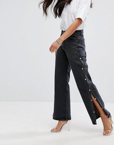 Read more about Liquor n poker wide leg jean with split seam and pearl detail - washed black