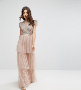 Read more about Maya cape sleeve tiered maxi dress in tonal delicate sequin with bow back - mink