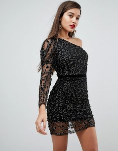 Read more about Asos animal sparkle one shoulder puff sleeve mini dress - black gold