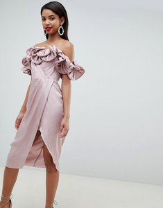 Read more about Asos design occasion satin pencil dress with extreme ruffle bandeau - cosmetic pink