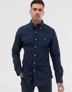 Read more about Polo ralph lauren player logo slim fit poplin shirt button-down in navy - newport navy