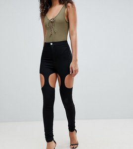 Read more about Asos design tall rivington high waisted jeggings with suspender detail in clean black - clean black