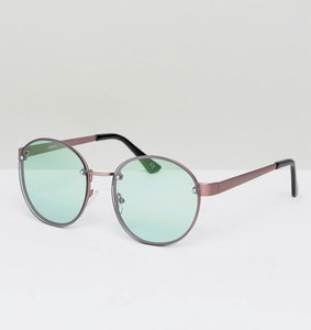 Read more about Asos round 90s sunglasses with pale green lens - bronze