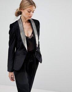 Read more about Ted baker velvet blazer with embellished lapel - black