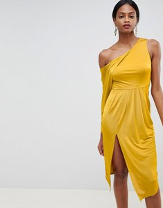 Read more about Asos design slinky one shoulder midi dress - yellow