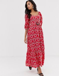 Read more about Asos design premium sweetheart broderie maxi dress with buckle belt