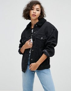 Read more about Asos denim borg jacket in washed black - washed black