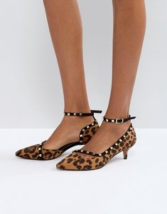 Read more about Asos sabre studded kitten heels - leopard black