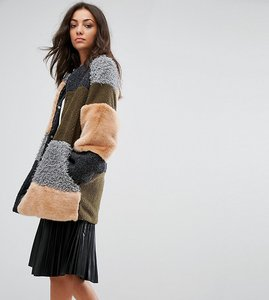 Read more about Noisy may tall patchwork faux fur longline coat - ivy green