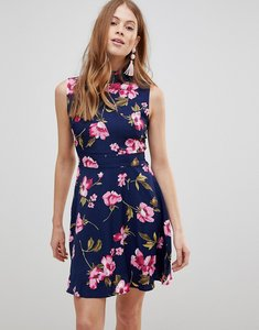 Read more about Uttam boutique flower print frill neck dress - navy