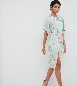 Read more about Silver bloom kimono sleeve midi dress with open back in multi - green floral