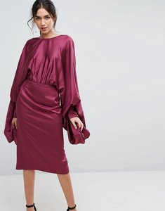 Read more about Asos extreme sleeve satin midi pencil dress - plum