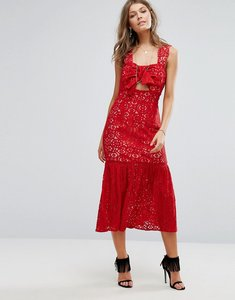 Read more about Foxiedox bow front midi lace dress - red