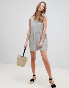 Read more about Asos design smock playsuit with tie shoulder - grey