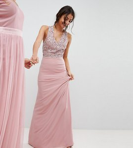 Read more about Maya tall sleeveless sequin bodice maxi dress with cutout and bow back detail - vintage rose