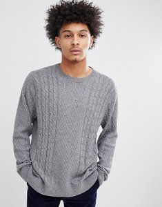 Read more about Abercrombie fitch crew neck jumper cable knit in dark grey - dark grey