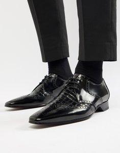 Read more about Jeffery west escobar croc brogue shoes in black - black